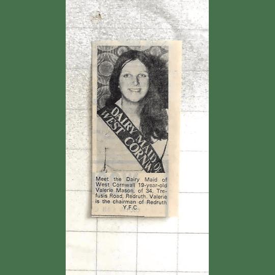 1974 Dairymaid West Cornwall 19-year-old Valerie Mason Of Redruth