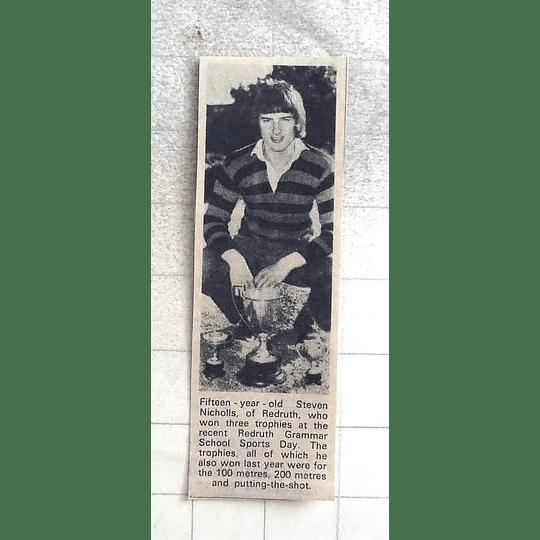 1974 15-year-old Steven Nicholls Of Redruth Wins Three Trophies Redruth Grammar