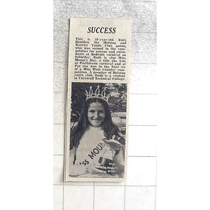 1974 18-year-old Ruth Boluden Helston And Kerrier Youth Club Queen