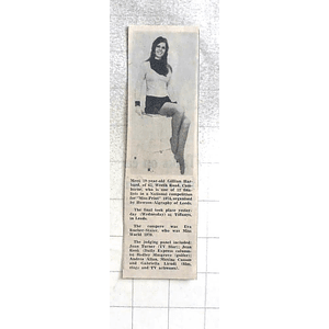 1974 19-year-old Gillian Harbard, Camborne Finalist In Miss Print 1974