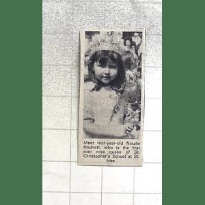 1974 4 Yr-old Natalie Hodnett Rose Queen Of St Christopher's School St Ives