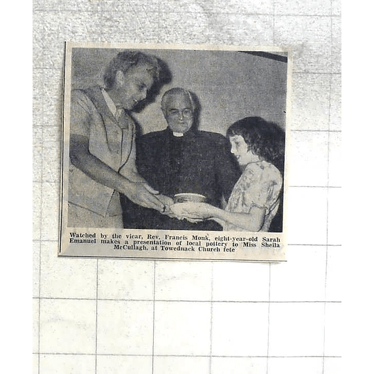 1974 8 Yr-old Sarah Emanuel Presents Local Pottery To Sheila Mccullagh Towednack