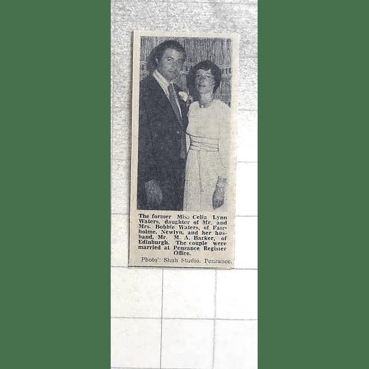 1974 Celia Waters, Newlyn Marries M Barker Edinburgh