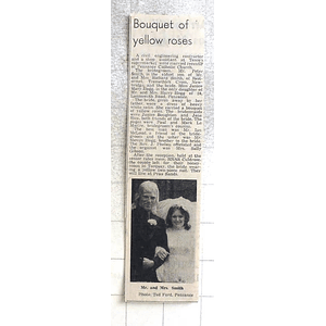 1974 Peter Smith, Newbridge Marries Janice Hogg, Penzance