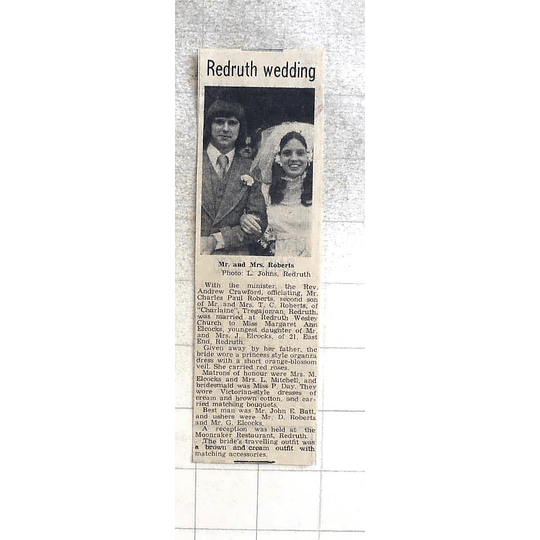 1974 Redruth Wedding Charles Roberts Redruth Marries Margaret Elcocks