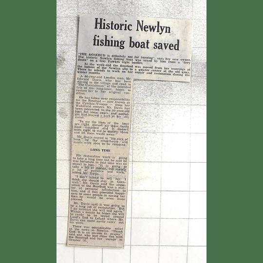1974 Historic Newlyn Fishing Boat, The Rosebud, Saved