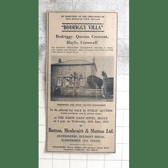 1974 Bodlriggy Villa, Queens Crescent, Hayle Detached Residence For Sale