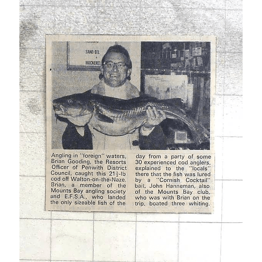 1974 Penrith Angler Brian Gooding Catches 21lb Cod With Cornish Cocktail