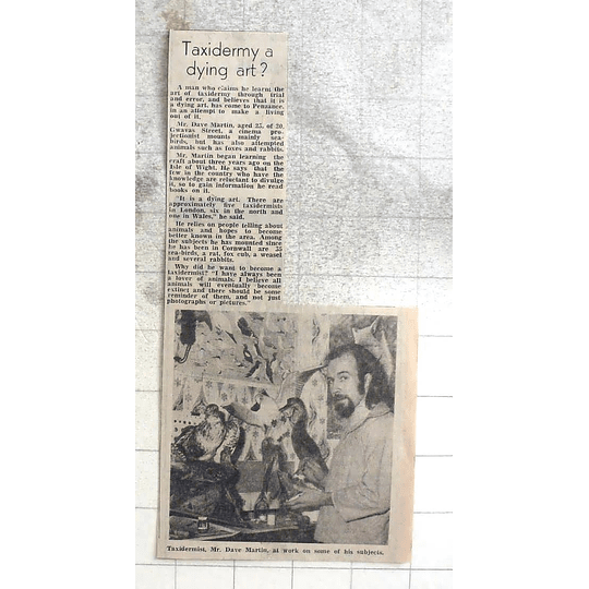 1974 Taxidermist Dave Martin From Isle Of Wight To Penzance