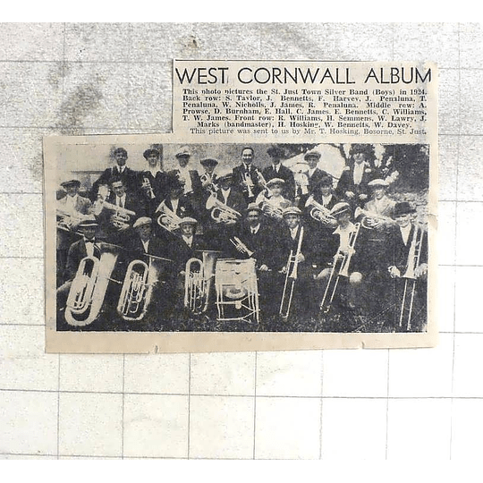 1974 St Just Town Silver Band In 1924, Photo Lineup