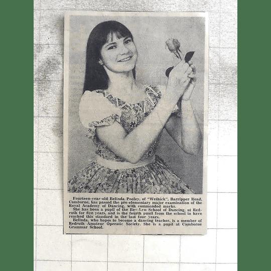 1974 14-year-old Belinda Pooley Camborne Commended Dancing