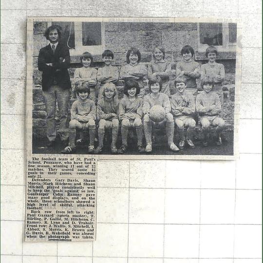 1974 Football Team St Pauls School Penzance Fine Season, Team Photo