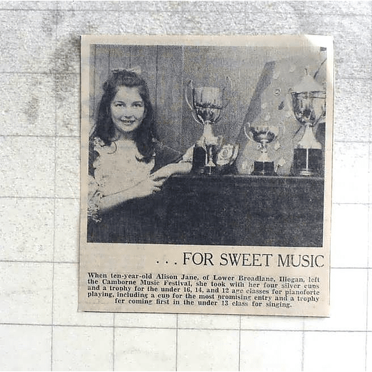 1974 10-year-old Alison Jane Of Illogan Sweet Piano Playing