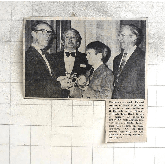 1974 14-year-old Richard Angove Presenting Cornet To G Richards Hayle Town Band