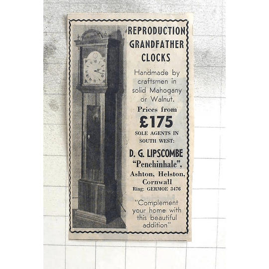 1974 Handmade Grandfather Clocks, Dg Lipscombe, Ashton, Helston