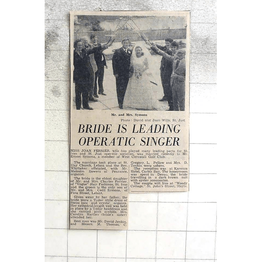 1974 Miss Joan Ferrier, Marries Ernest Symons, Lelant Church