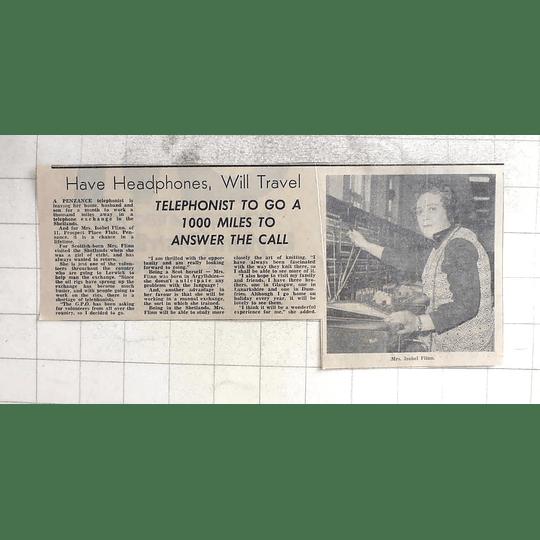 1974 Mrs Isobel Flinn Penzance Telephonist, Penzance For The Shetlands