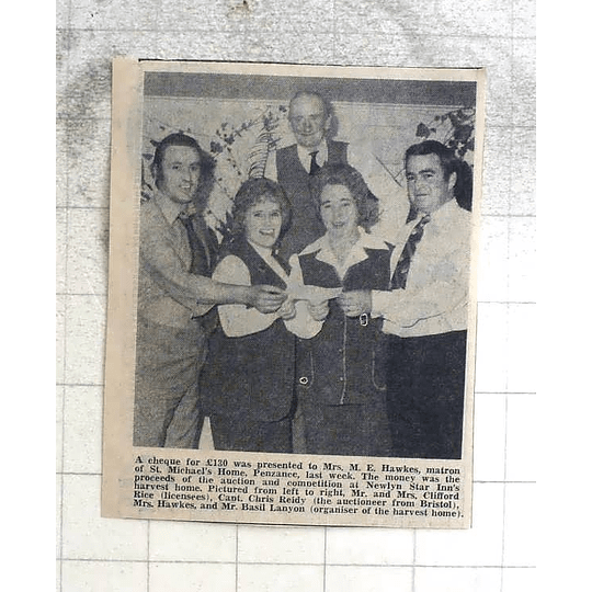 1974 St Michaels Home Penzance Receives Cash From Newlyn Star Inns Harvest Home