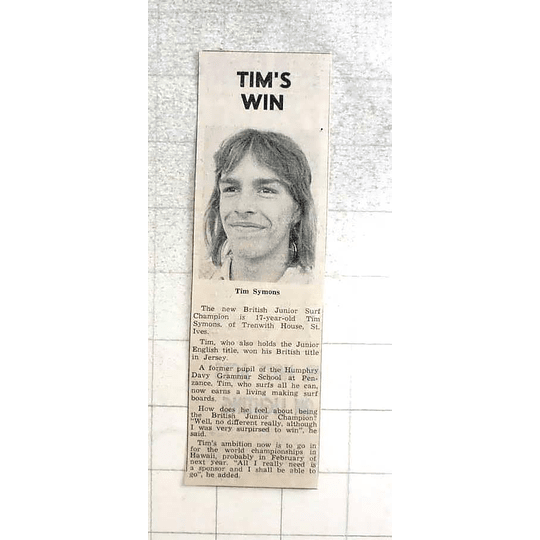 1974 New British Jun Surf Champ 17-yr-old Tim Symons, Trenwith House St Ives