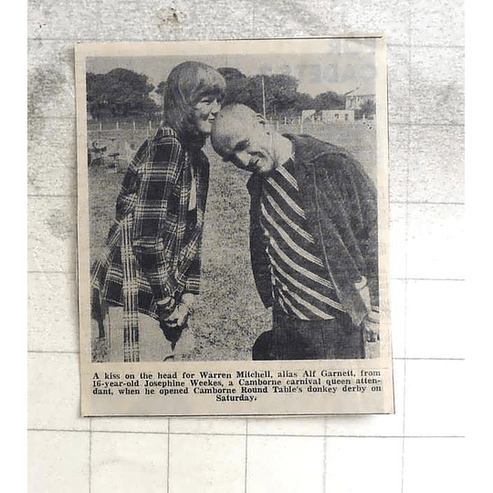 1974 16-year-old Josephine Weekes Kisses Warren Mitchell On His Dome Camborne