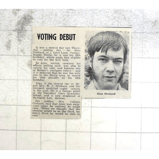 1974 Voting Debut For 18-year-old Alan Orchard, Hayle