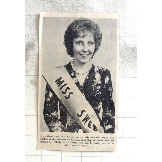 1974 17-year-old Julie Acton, Wins Miss Sweb Redruth