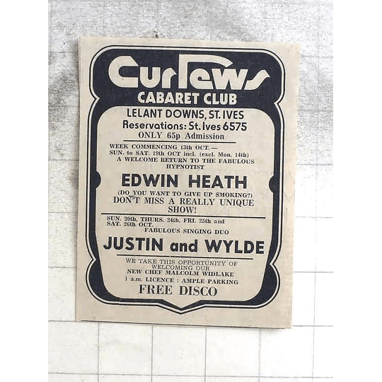 1974 Curlews Cabaret Club St Ives Edwin Heath, Justin And Wylde