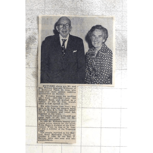1974 Mr And Mrs William Reginald Williams St Ives Golden Wedding