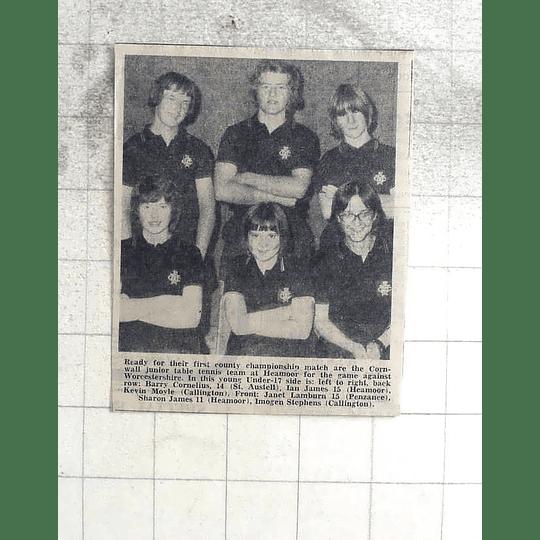 1974 Cornwall Jr Table Tennis Team Cornelius, Moyle, Lamburn, Stephens