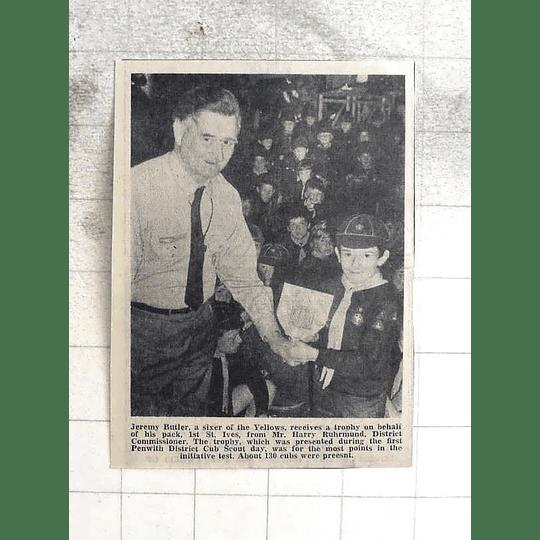 1974 Jeremy Butler Receives Trophy, 1st St Ives Scouts, Cubs