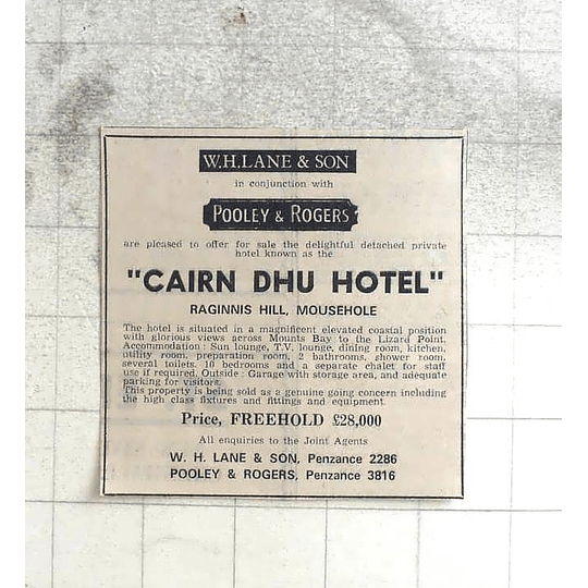 1974 Cairn Dhu Hotel, Raginnis Hill Mousehole, £20,000