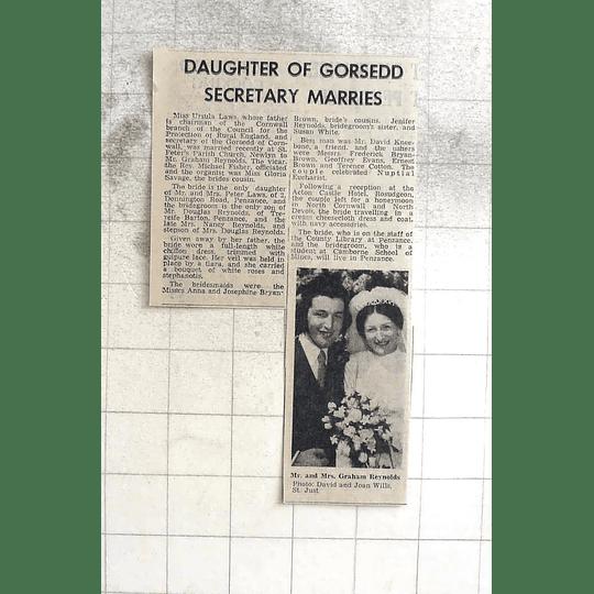 1974 Sheila Laws Marries Graham Reynolds St Peters Church Newlyn