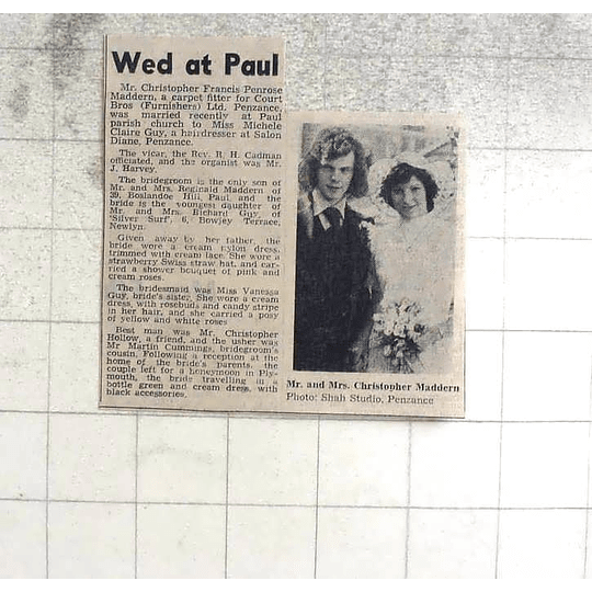 1974 Christopher Madron Marries Michele Guy At Paul Parish Church