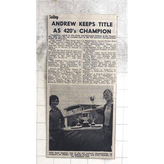 1974 Andrew Roberts And Paul Clements, Parkstone Club Championships