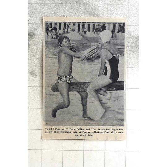 1974 Penzance Pool Pillow Fight, Gary Collins And Tina Searle