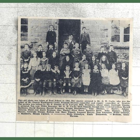 1974 Old Photo Group At Paul School, 1904, Master Jw Cocks, Sleema, Brokum,