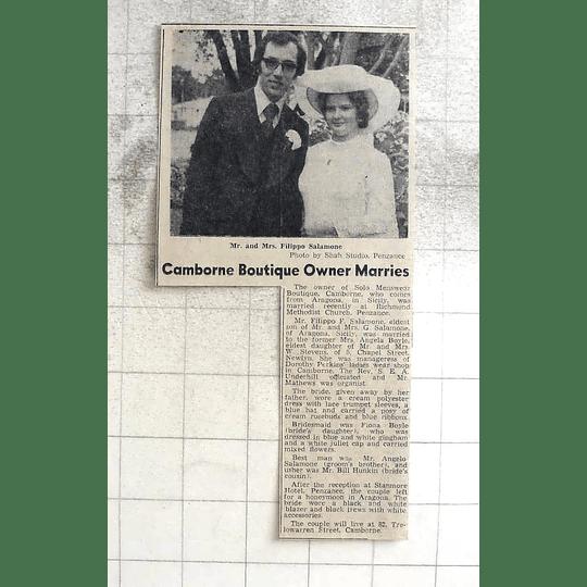 1974 Mr Filippo Salomone Marries Angela Boyle, Camborne Boutique