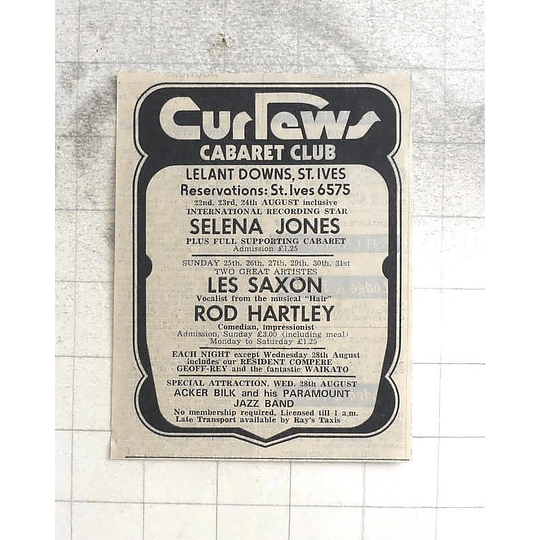 1974 Curlews Cabaret Club, St Ives, Selina Jones, Les Saxon, Rod Hartley