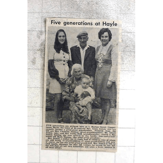 1974 Mrs Annie Jenkin, Five Generations At Market Street Copper House, Hayle