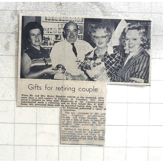 1974 Gifts For Retiring Couple Mr And Mrs Harry Dugdale Penzance