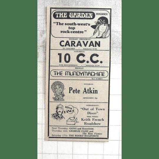 1974 The Garden, Penzance, Caravan, 10 Cc, Pete Atkin