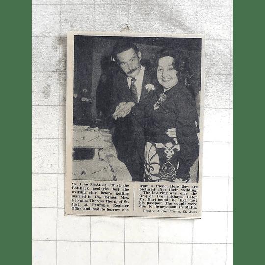 1974 John Hart Cuts Wedding Cake With Georgina Thorpe St Just