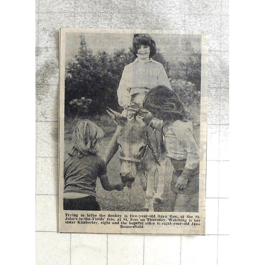 1974 St Ives Donkey Bribery Sarah Gee With Sister Kimberly, Jane Rouncefield