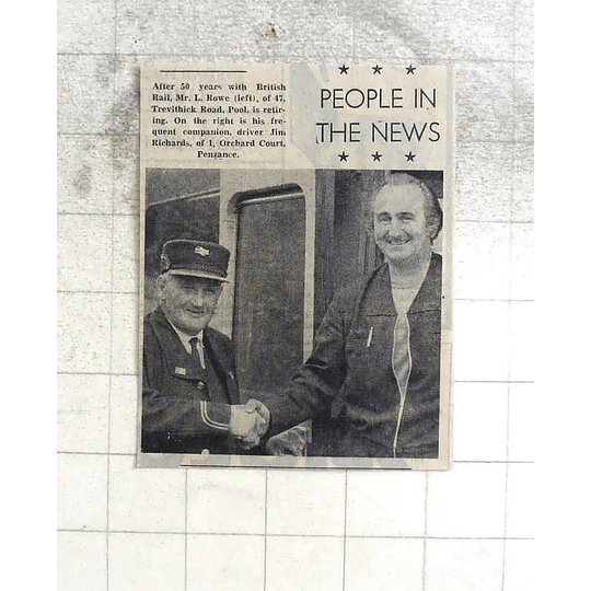 1974 50 Years British Rail Mr L Rowe, Trevithick Road Pool, Jim Richards