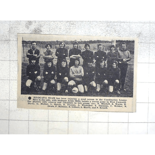 1974 Illogans Football Team Photo, Bernie Mills, Whittaker, Maloney, Kessell