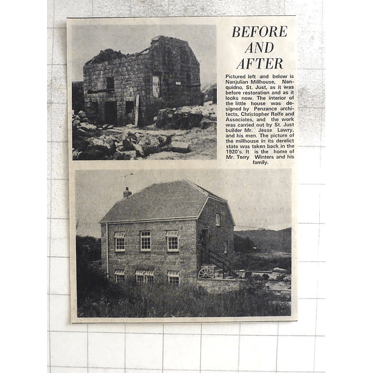 1974 Superb Restoration Nanjulian Millhouse St Just, Jesse Lawry, Terry Winters