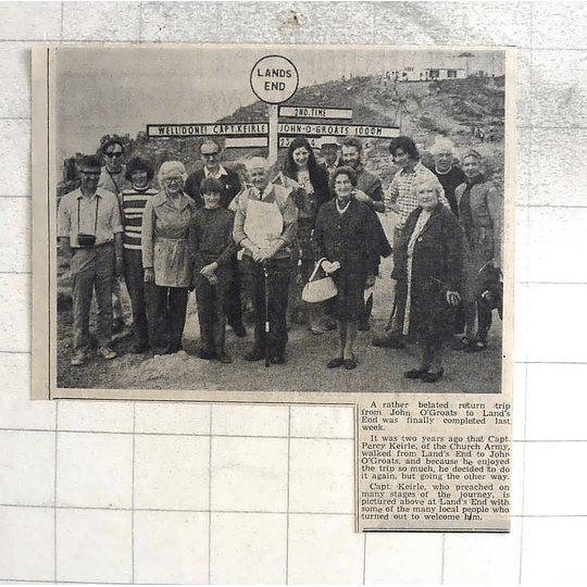 1974 Capt Percy Keirle Church Army Lands End Walk