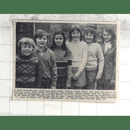 1974 Young Table Tennis Team Penpol Primary School, Sharon James, Andrew Hopkins