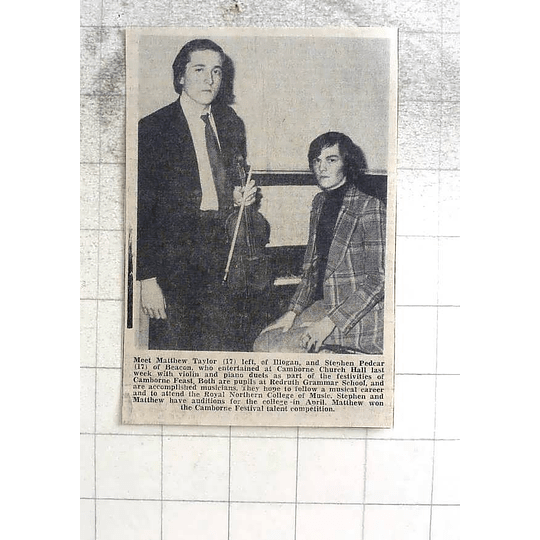 1974 Violin Piano Duet, Matthew Taylor, Illogan , Stephen Pedcar, Beacon