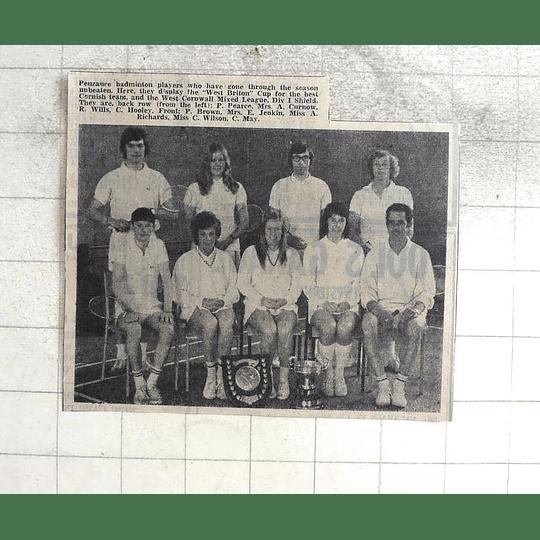 1974 Penzance Badminton Team Photo, Wills, Hooley, Jenkin, Wilson, May
